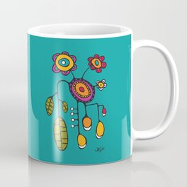 Flower Pot in Color on Teal Coffee Mug