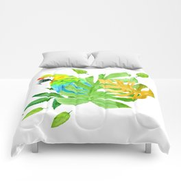 Parrot with Tropical Leaves Comforters
