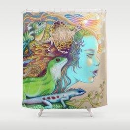 A Tangle Of Lizards, Lizard Art Shower Curtain