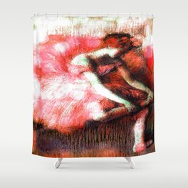 The Dancer by Edgar Degas Coral Red Shower Curtain