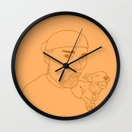 A boy and his dog. Wall Clock