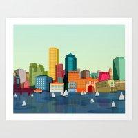 boston Art Prints featuring Boston  by GoFe