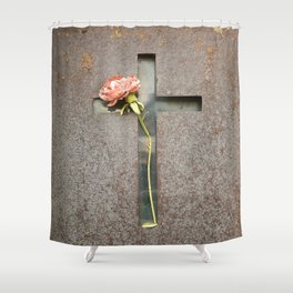 Flower and Rust Shower Curtain
