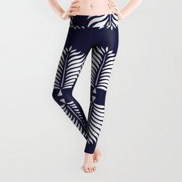 TROPICAL PALMS . BLUE + WHITE Leggings