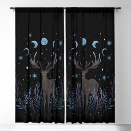 Deer in Winter Night Forest Blackout Curtain