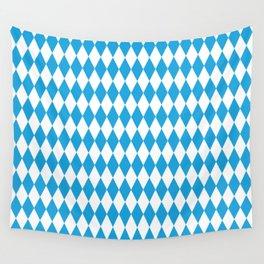 Oktoberfest Bavarian Blue and White Large Diagonal Diamond Pattern Wall Tapestry