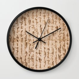 Vertically Illegible Ancient Script Wall Clock