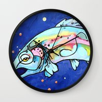 trout Wall Clocks featuring Trout Pout by waggytailspetportraits