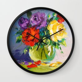 Bright bouquet of roses Wall Clock