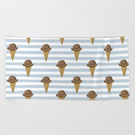 ice cream cones stripes food fight apparel and gifts Beach Towel