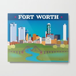 Fort Worth, Texas - Skyline Illustration by Loose Petals Metal Print
