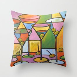 Abstract Art Wine Bar Alcohol Painting ... Martinis and Olives Throw Pillow