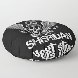 Sheridan i_m a biker dad  to city next stop father Floor Pillow