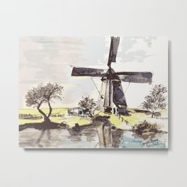 Dutch Windmill Netherlands Metal Print