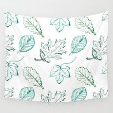 Leaves (aquamarine) Wall Tapestry