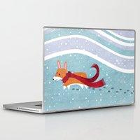 corgi Laptop & iPad Skins featuring Winter Corgi by Jackie Sullivan