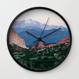 Sunrise at Garden of the Gods and Pikes Peak Wall Clock