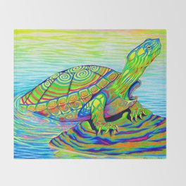 Colorful Psychedelic Neon Painted Turtle Rainbow Turtle Throw Blanket