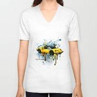 ferrari V-neck T-shirts featuring Ferrari by Svetlana Sewell