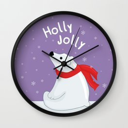 Polar Bear - Holly Jolly Wall Clock