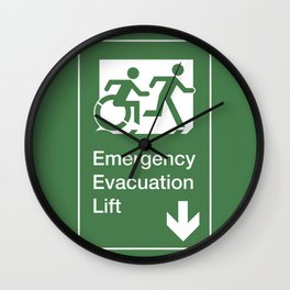 Accessible Means of Egress Icon, Emergency Evacuation Lift / Elevator Sign Wall Clock