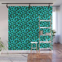 Aqua Leopard Spots Animal Print Pattern Wall Mural