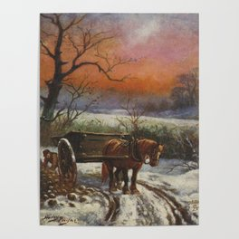 Horse with cart vintage christmas poster Poster