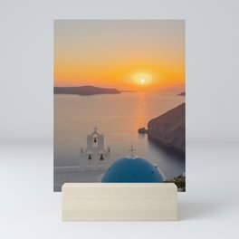 Three Bells Santorini Mini Art Print