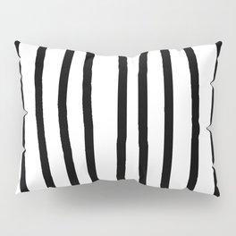 Simply Drawn Vertical Stripes in Midnight Black Pillow Sham