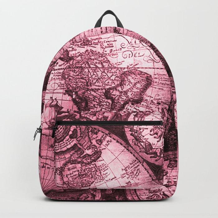 Vintage Pink Map Design Backpack