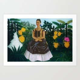 Frida's Garden, Frida Kahlo's Casa Azul, Coyoacán, Mexico rainforest floral landscape painting Art Print