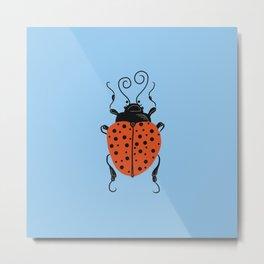 Little Ladybug Blue Metal Print