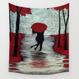 Red Autumn Rain Romance Wall Tapestry