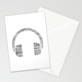 Typographic headphone Stationery Cards