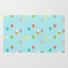Fluffy bunnies and the rainbow balloons pattern Rug