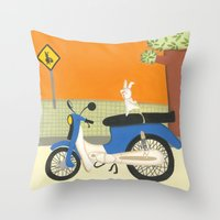 motorbike Throw Pillows featuring motorbike by Valeria Cis