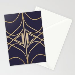 Navy & Gold Art Nouveau Line Work Textile Stationery Cards