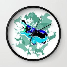 Hippopotamus Blue Wall Clock