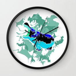 Hippopotamus Blue Wall Clock