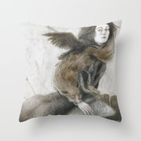 inner demons Throw Pillows featuring Demons by Jana Heidersdorf Illustration