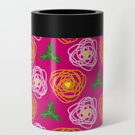 Bright pink floral Can Cooler