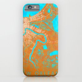 New Orleans, LA, USA, Gold, Blue, City, Map iPhone Case