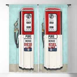 Retro Gas Pump in Red, Black and Aqua Blackout Curtain