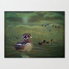 Wood Ducks at the Lake Canvas Print