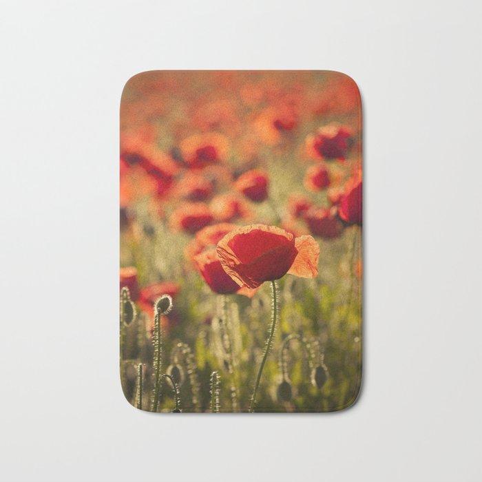 Poppies in LOVE - Poppy Flower Flowers Bath Mat