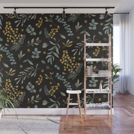 Australian native wattle eucalyptus watercolor floral black Wall Mural