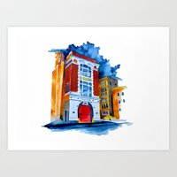 ghost busters Art Prints featuring ghost busters garage by Jonny Moochie
