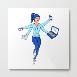 Super Freelance Woman Metal Print