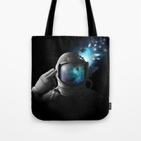 big bang Tote Bags featuring Big Bang by angrymonk