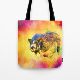 Jazzy Pig Colorful Animal Art by Jai Johnson Tote Bag